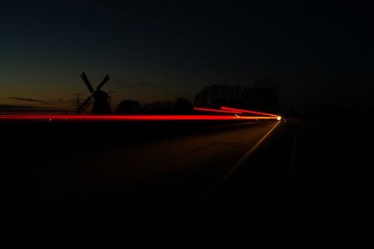 Free stock photo of night, dark, long-exposure, windmill