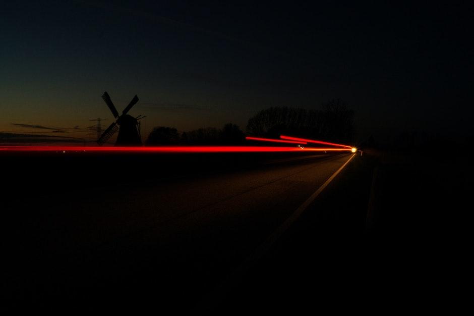 car lights, dark, long-exposure