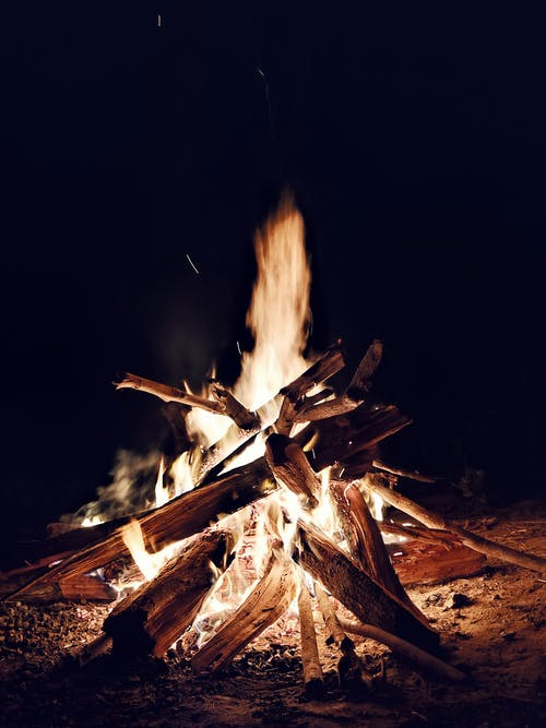 Fire on Brown Wood during Nighttime