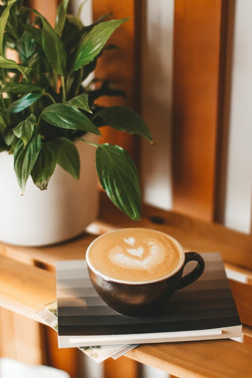 Cup of fresh cappuccino served on wooden shelf