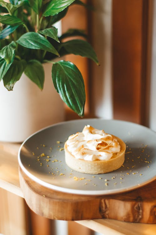 Appetizing fresh tart topped with whipped cream served on gray plate on wooden shelf near lush houseplant