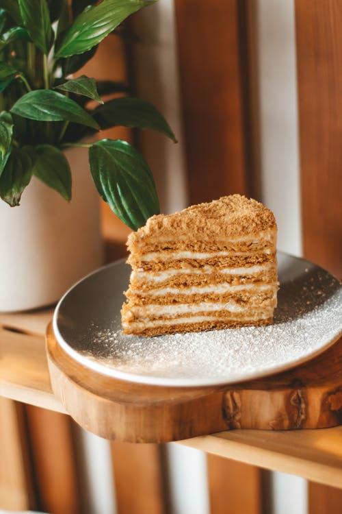 Slice tasty sweet Napoleon cake placed on gray ceramic plate on wooden table near green potted plant on blurred background