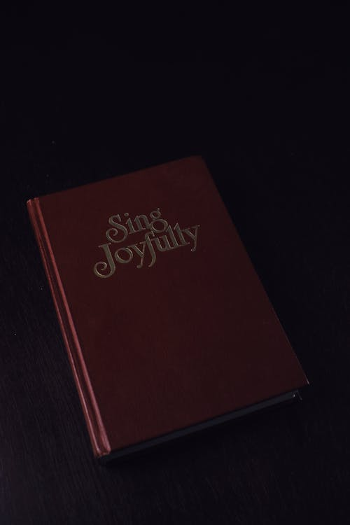 From above of red book with collection of songs placed on dark table