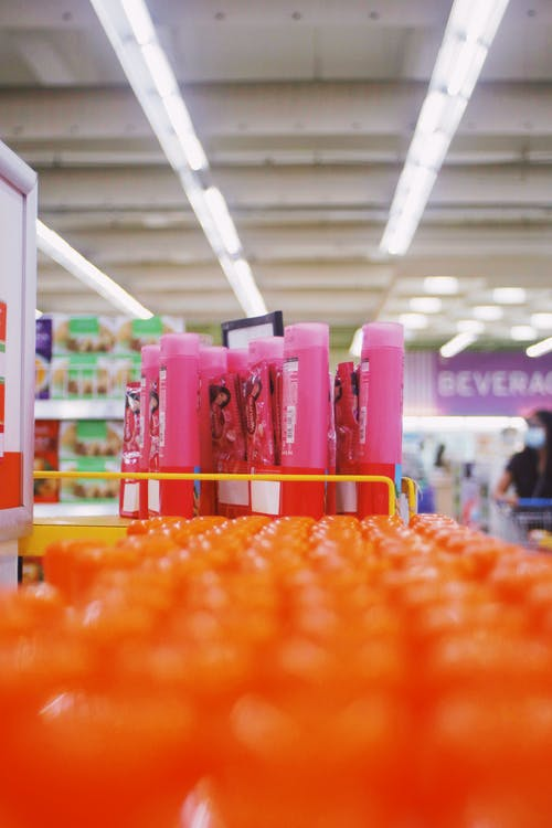 Rows of colorful bottles of shampoo