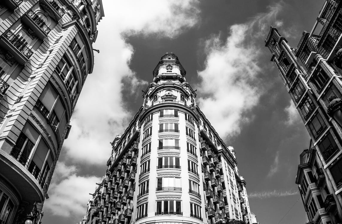 black and white, black and-white, building