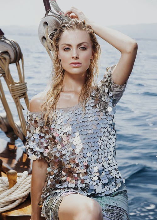 Fashion Model in Sparkling Clothes