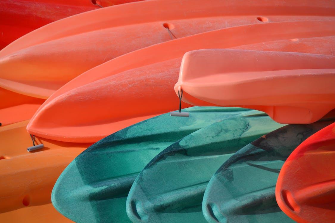 båter, blå, kanoer