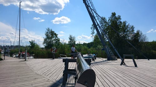 Kostnadsfri bild av Bay Bridge, segelbåtar, trä däck