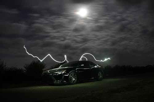 Free stock photo of car, clouds, dark, lights