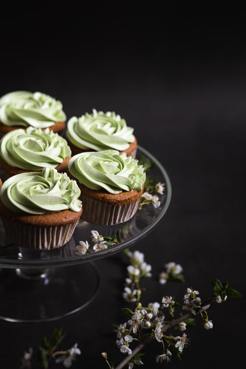 Green Cupcakes on Clear Glass Tray