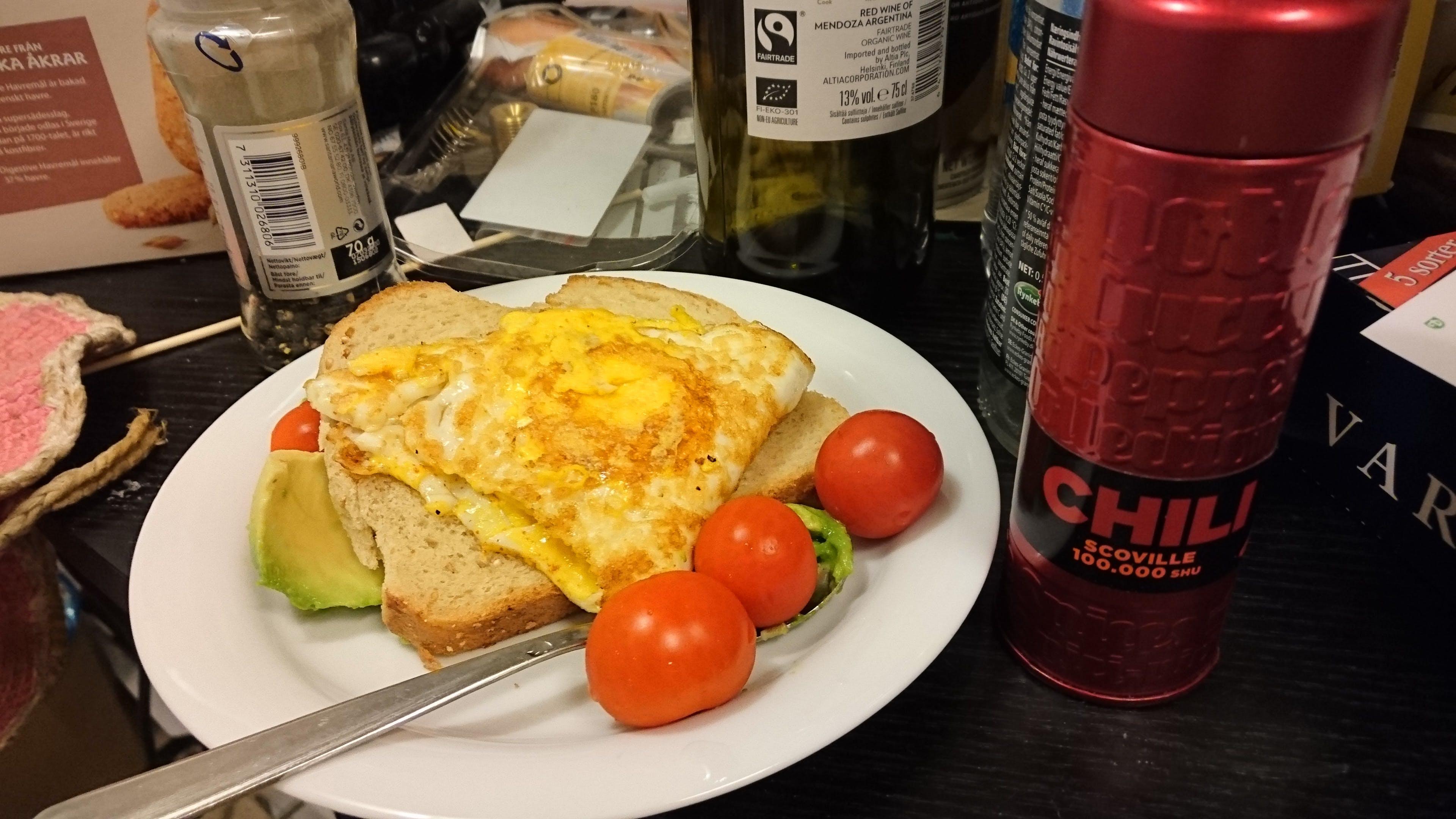 Free stock photo of egg, avocado, tomato, chili
