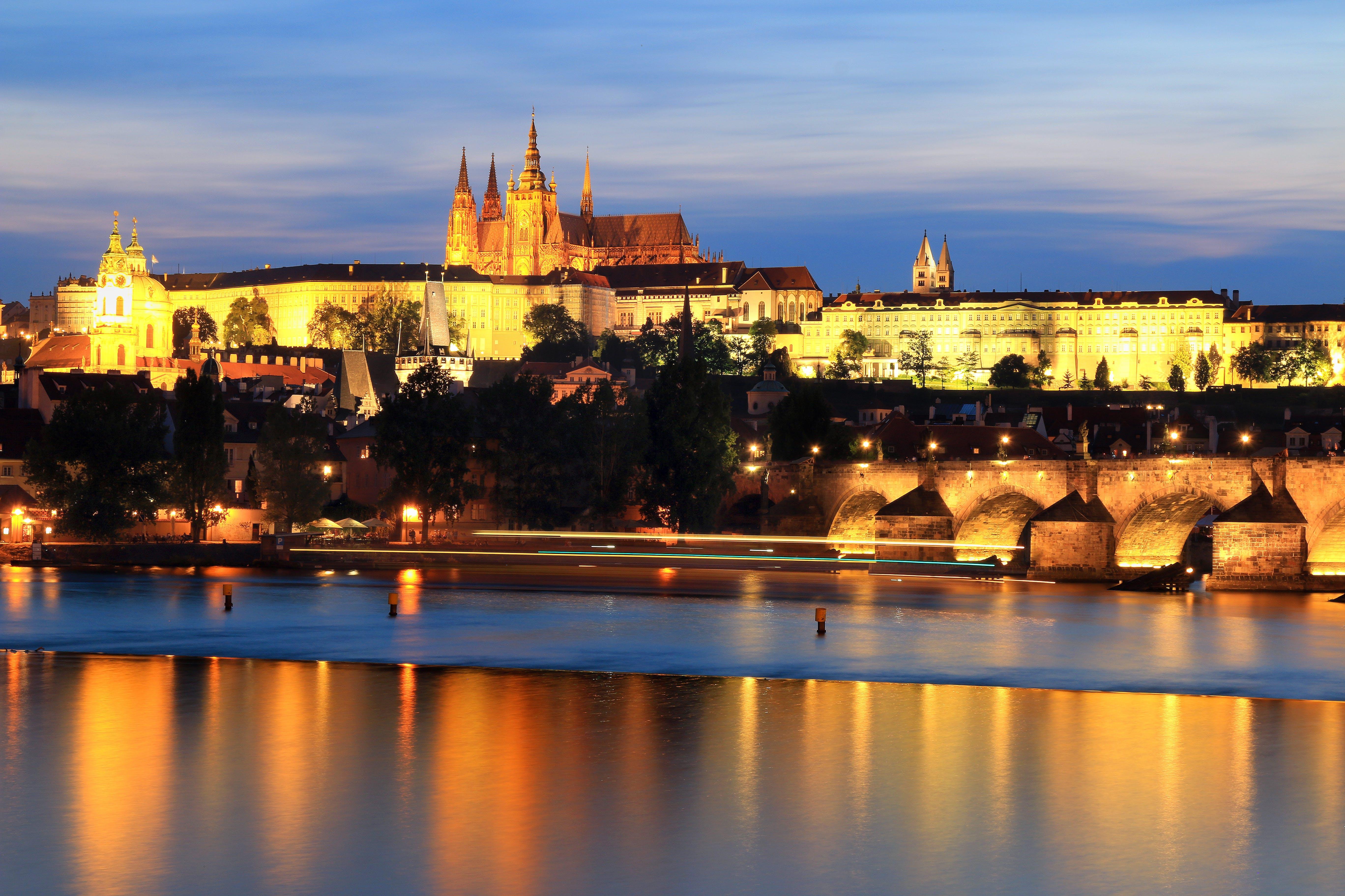 castle, historical, lights