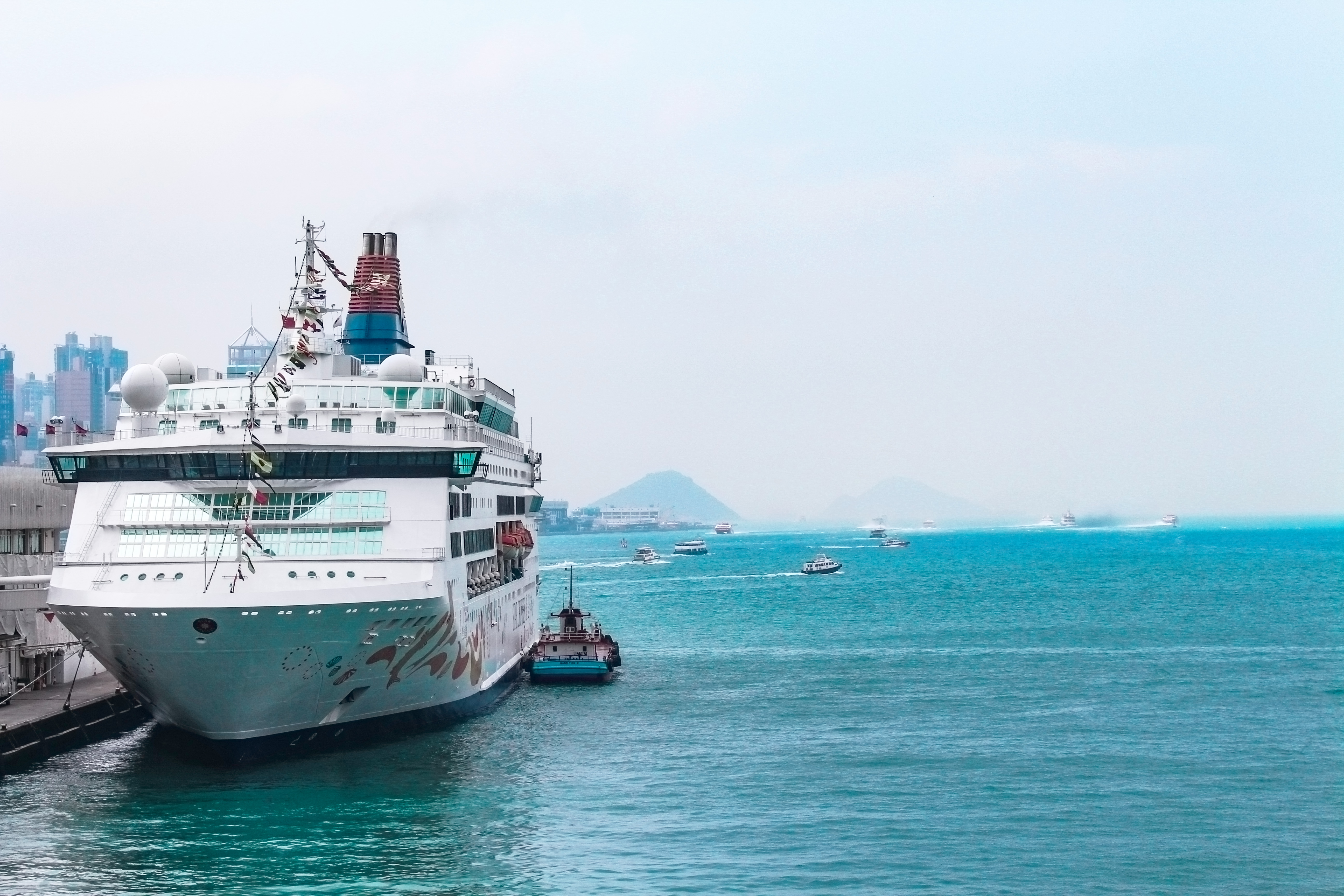 White Cruise Ship Docking in Port