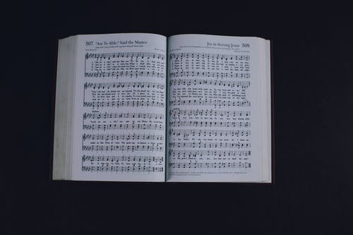 Opened book with music notes against dark background