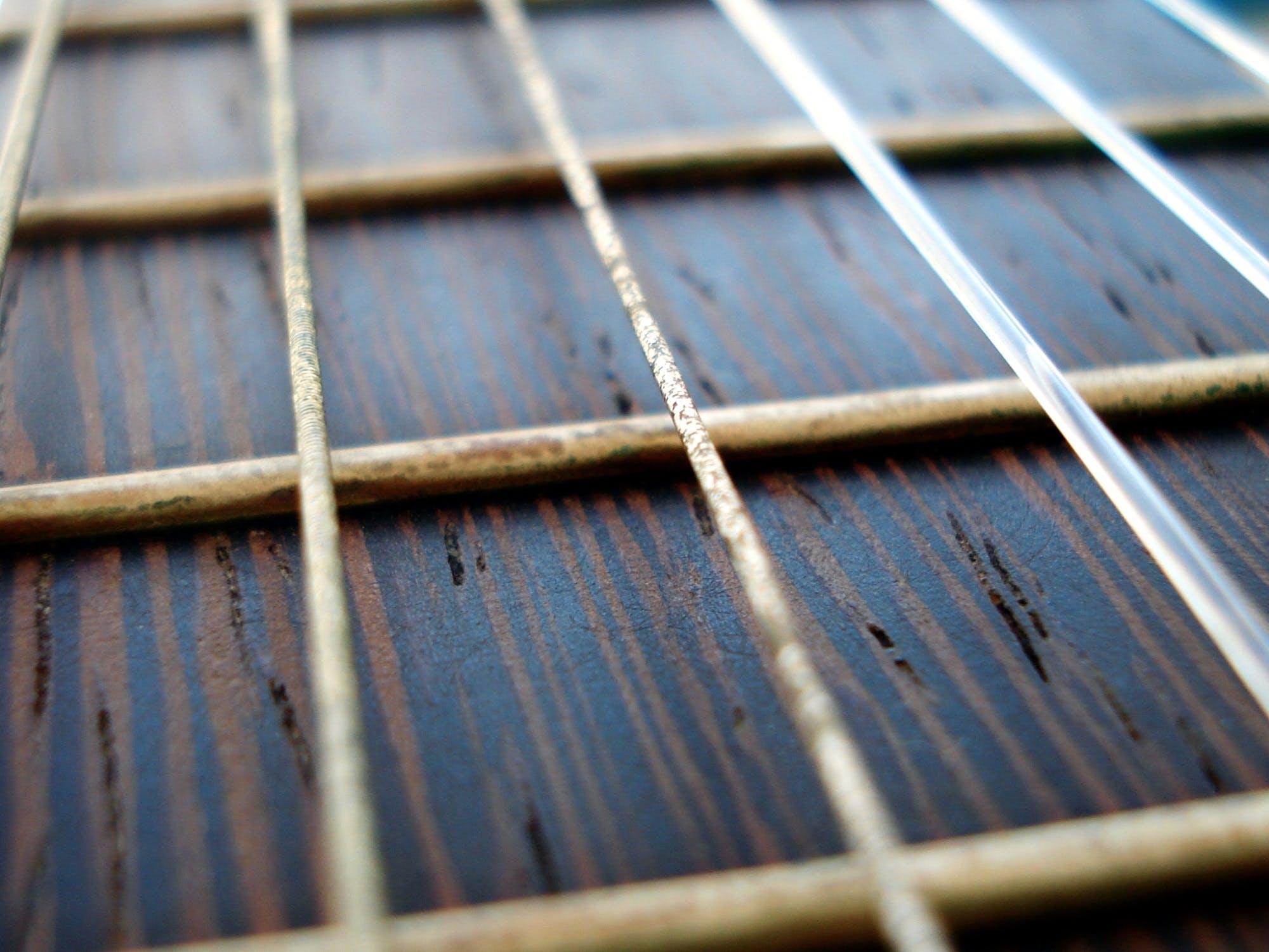 Free stock photo of guitar, detail, chord, theme patterns