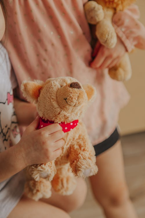 Crop kids with soft toys at home