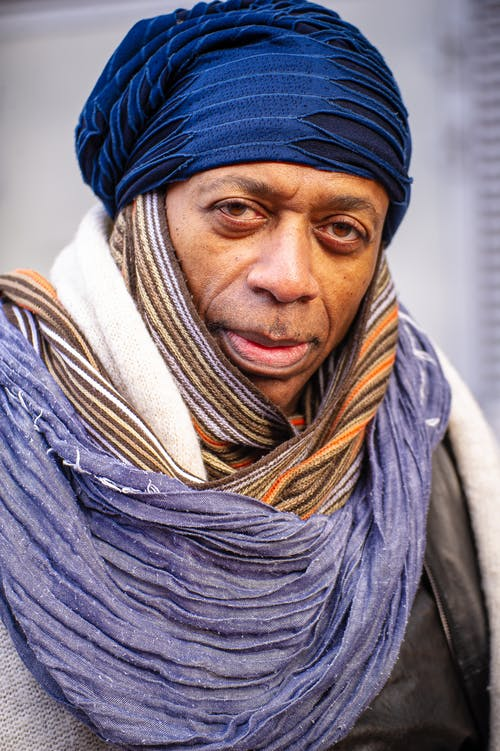 Woman in Blue Knit Cap and Gray Scarf