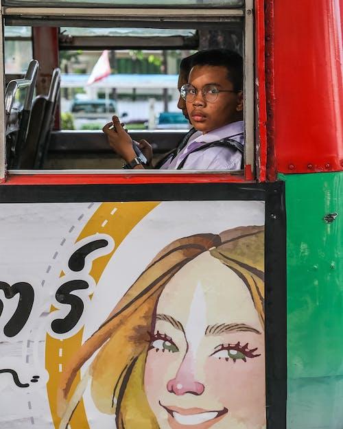 Free stock photo of bangkok, bus ride, face
