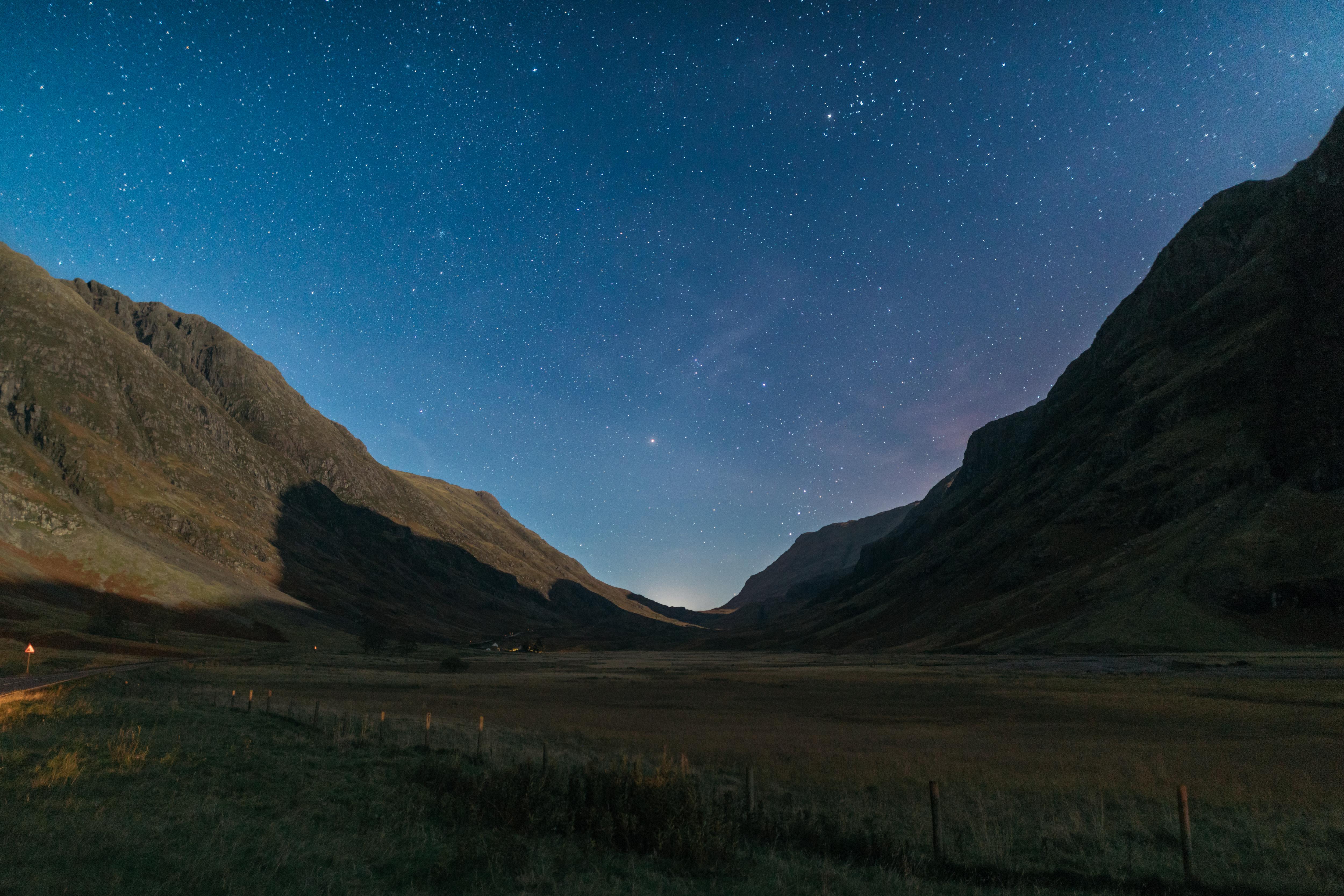 Mountain Under Starry Night