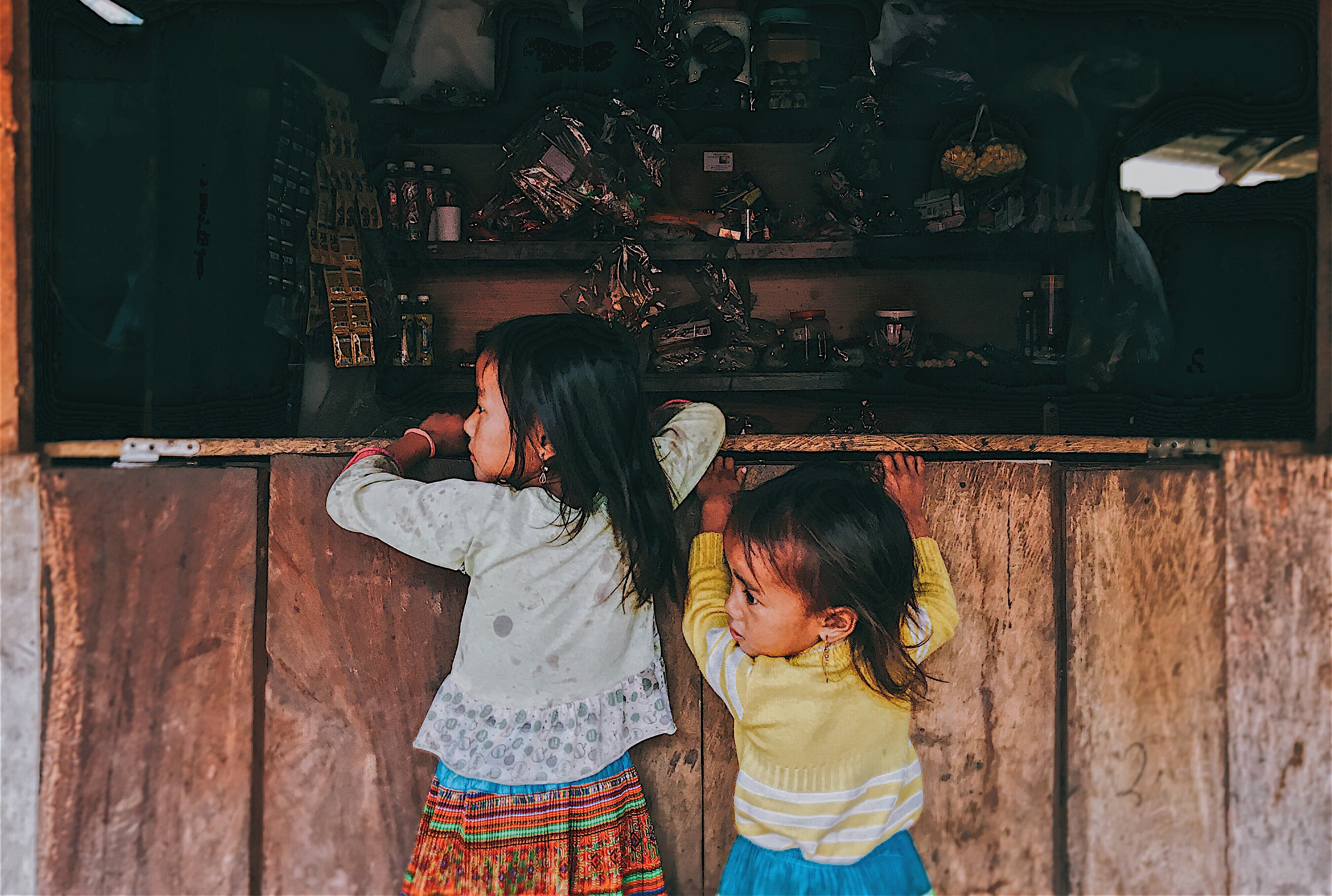 Two Toddler Girls in Front of Window