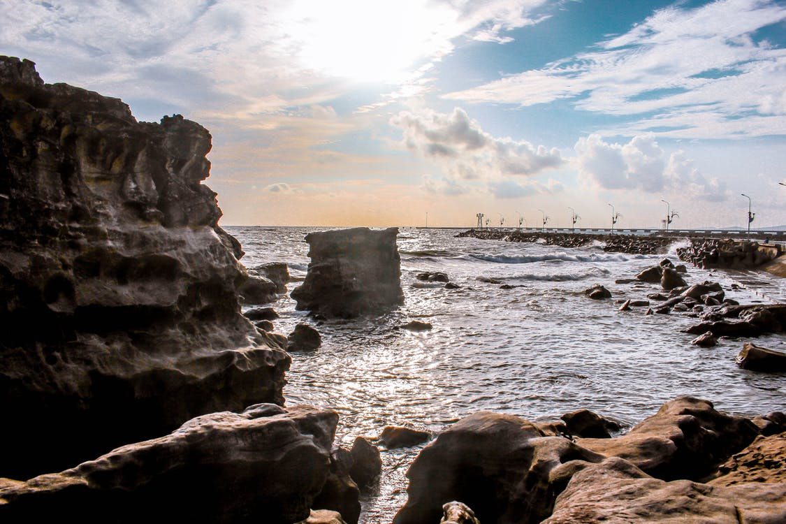 brygge, bølger, dagslys