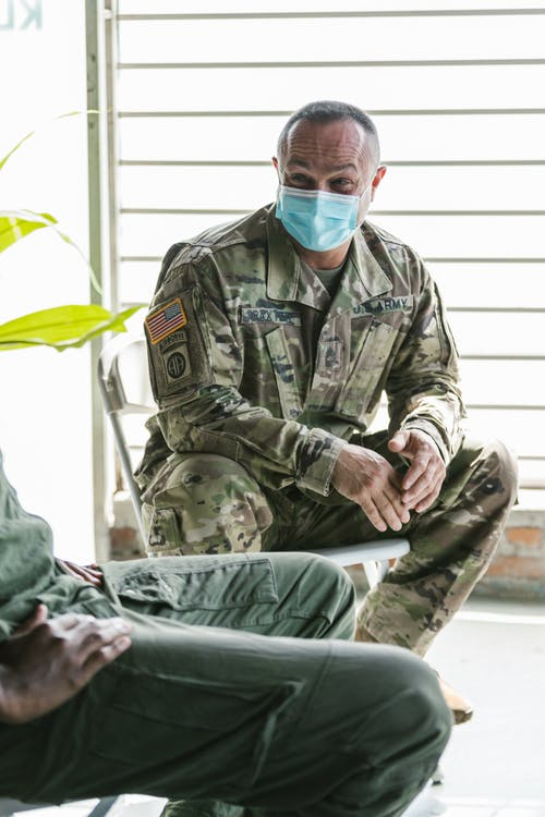 Photo of Soldier Wearing Facemask