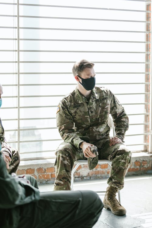 Photo of Soldier Wearing Black Facemask