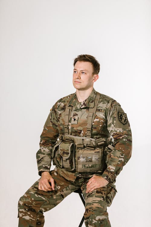 Photo of Man in Green and Brown Camouflage Army Uniform