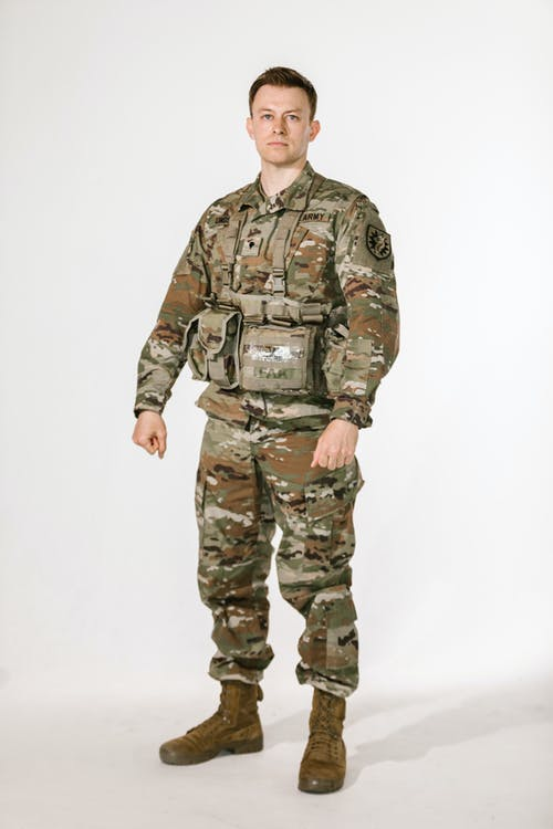 Full Body Shot of a Soldier in a Studio