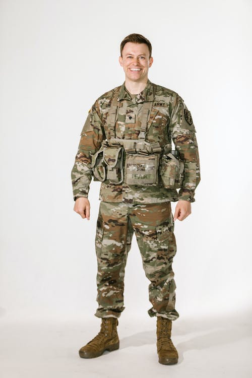 Full Body Shot of Man in Green and Brown Camouflage Military Uniform