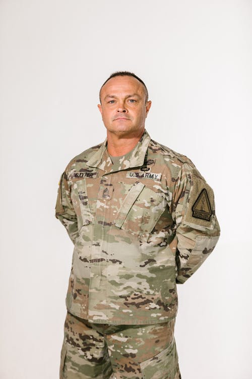 Photo of Soldier Wearing Green and Brown Camouflage Uniform