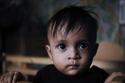 Close-Up Shot of a Cute Child Looking at Camera