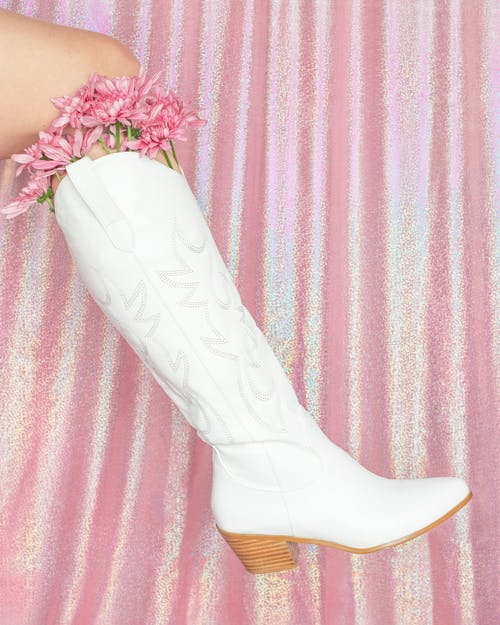 White Floral Shoe on Purple and White Textile