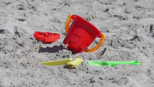 Close-up Shot of a Beach Bucket on the Sand