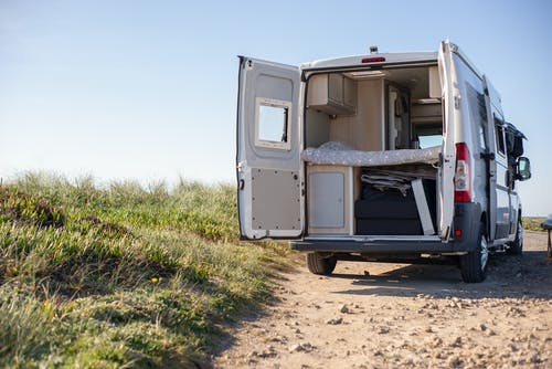 White and Brown Camper Trailer on Brown Field