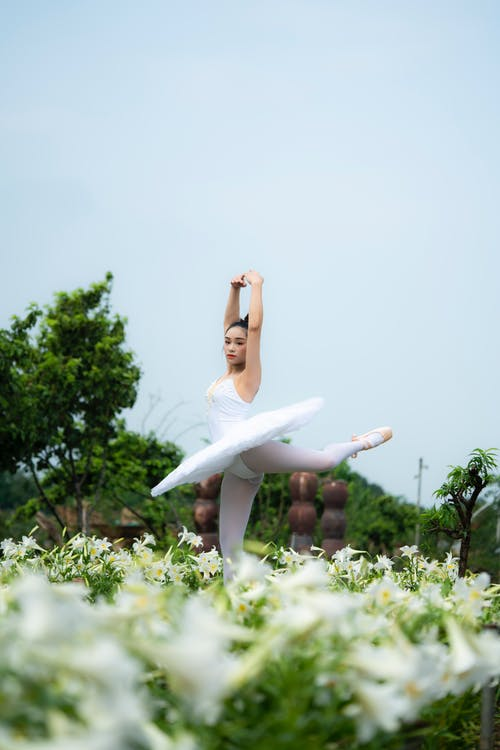 Professional flexible ethnic female artist in tutu dress doing ballet movement with raised arms in blooming meadow