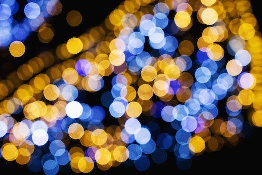 Macro Shot of Yellow and Blue Lights