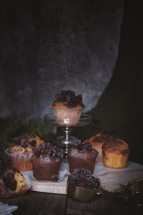 Chocolate Cupcakes on Brown Wooden Table