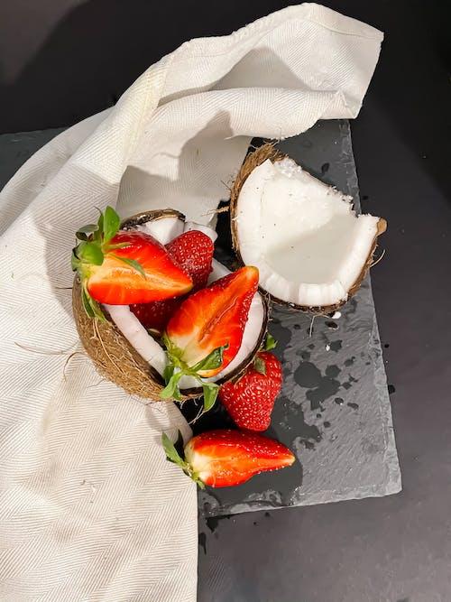 Sliced Strawberries on White Ceramic Bowl