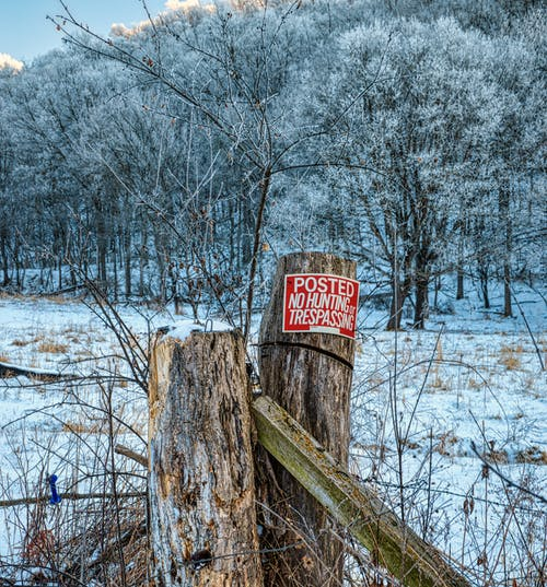 Red and White Wooden Signage on Brown Wooden Post Surrounded by Snow Covered Trees