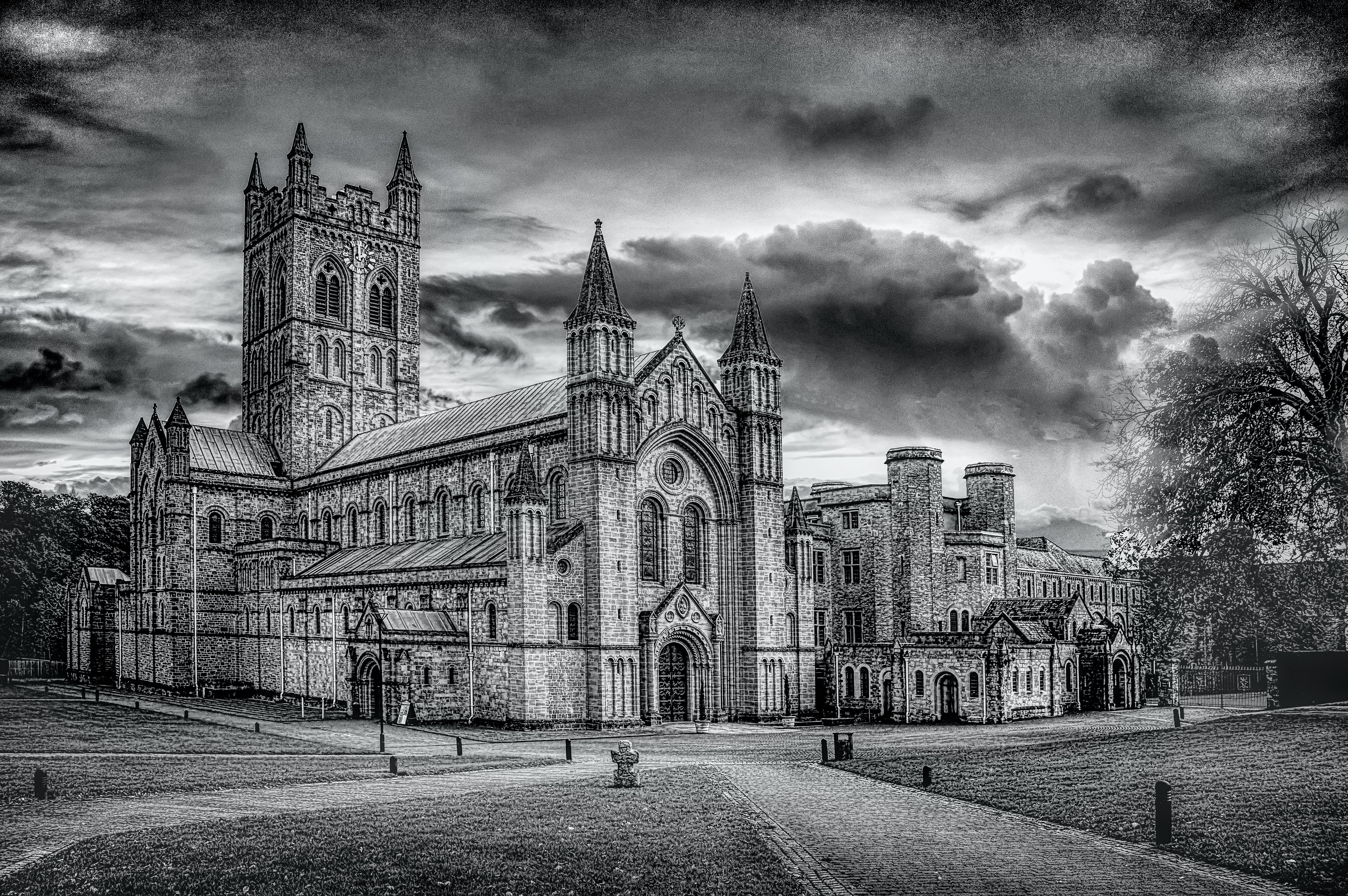Free stock photo of abbey, bishop, black and white, Buckfast Abbey