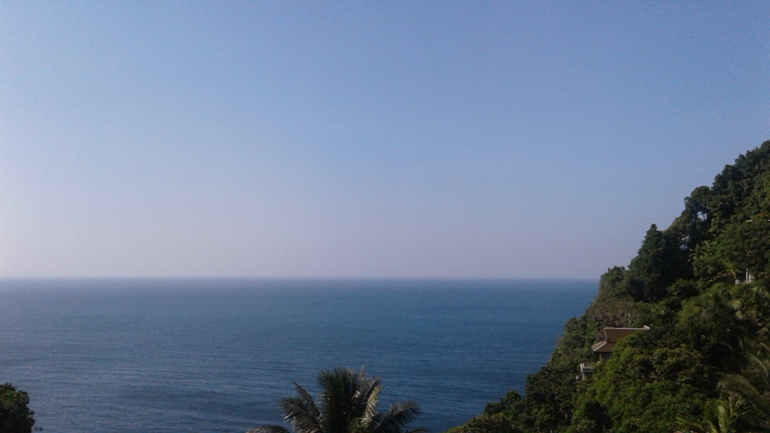 Free stock photo of blue sea, blue sky, cliff, horizon
