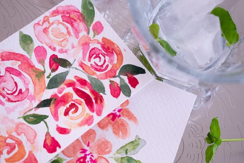 White and Red Rose Print Textile