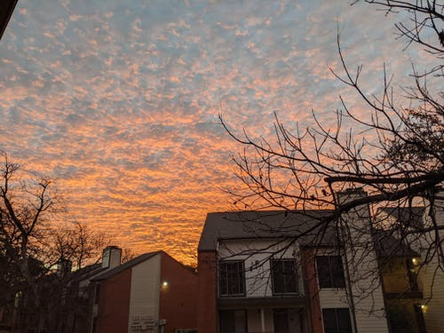 Free stock photo of apartment building, Beautiful sunset, clouds