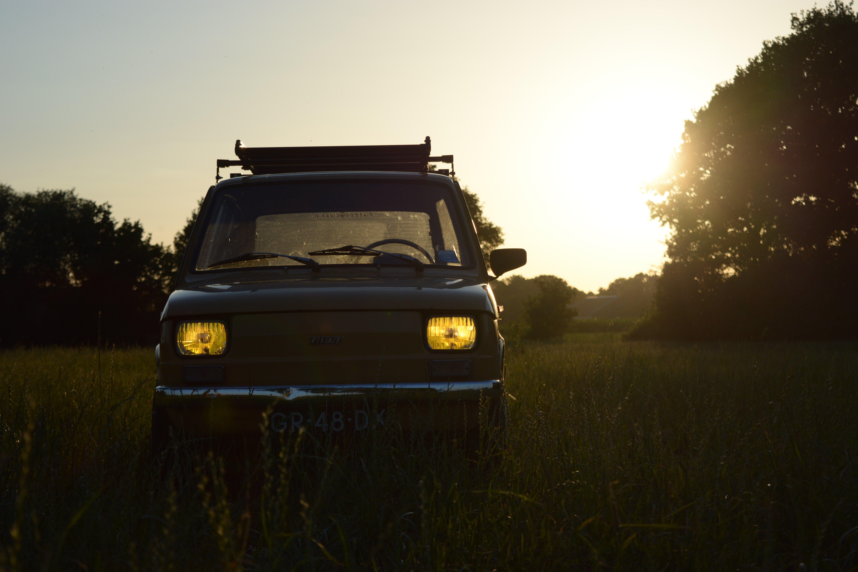 Free stock photo of 60s, car, dirty car, evening sky