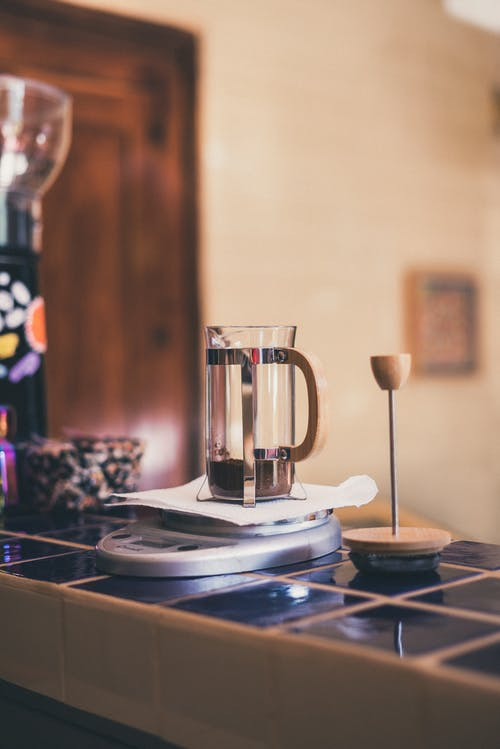Photo of French Press on Top of Weighing Scale
