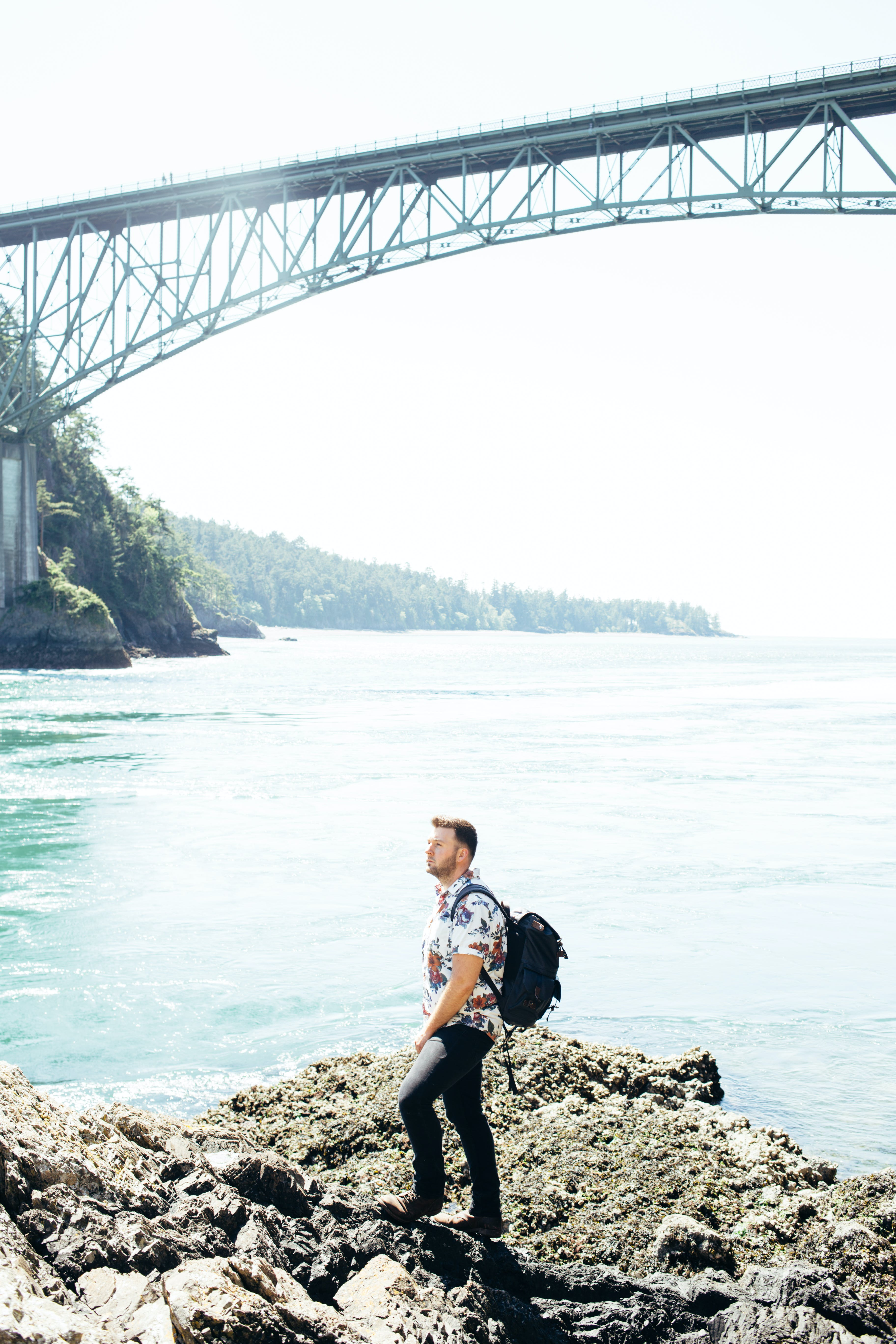 adventure, bridge, hiker