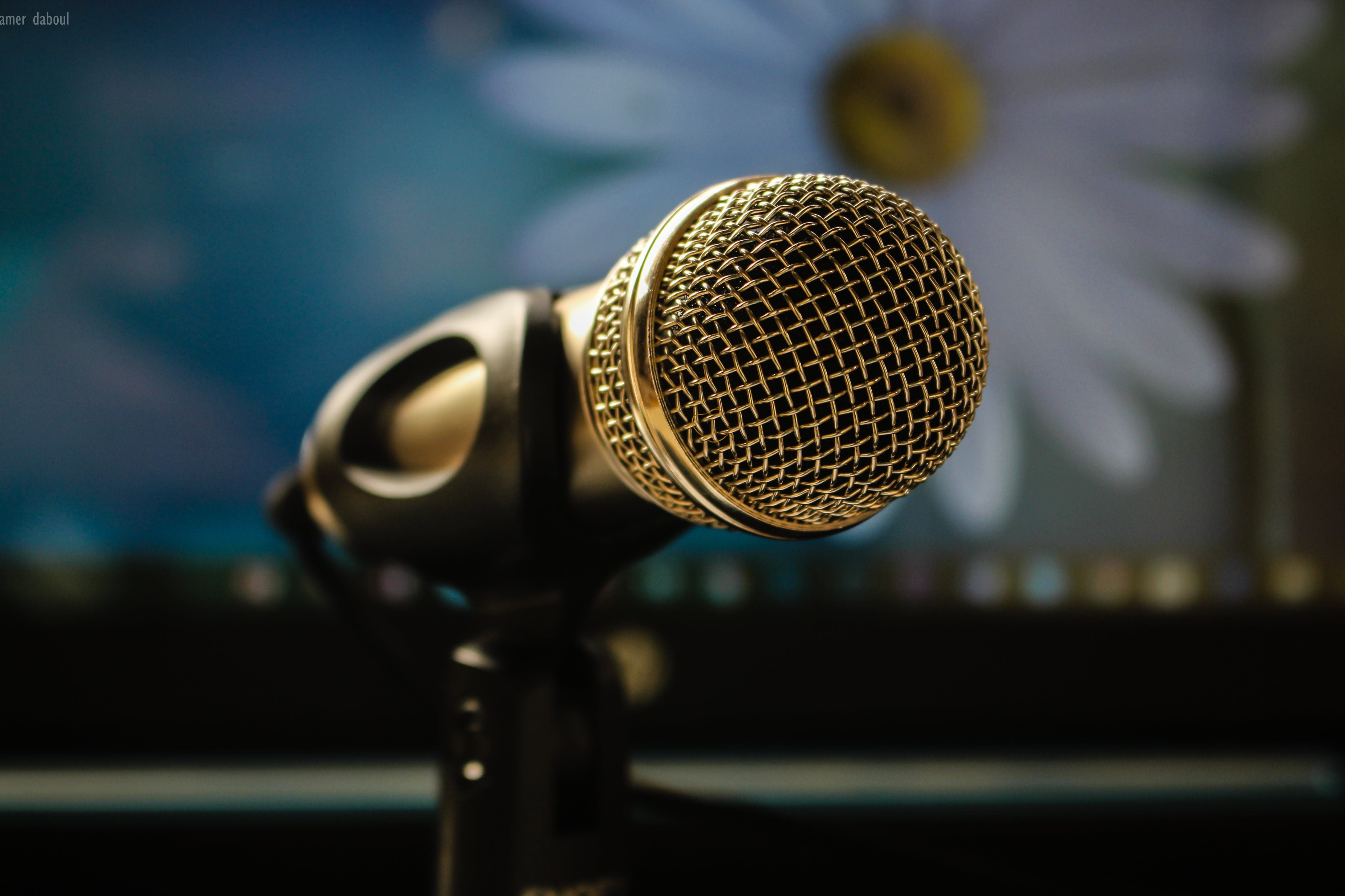 Close Up Photography of Gray Microphone With Black Stand
