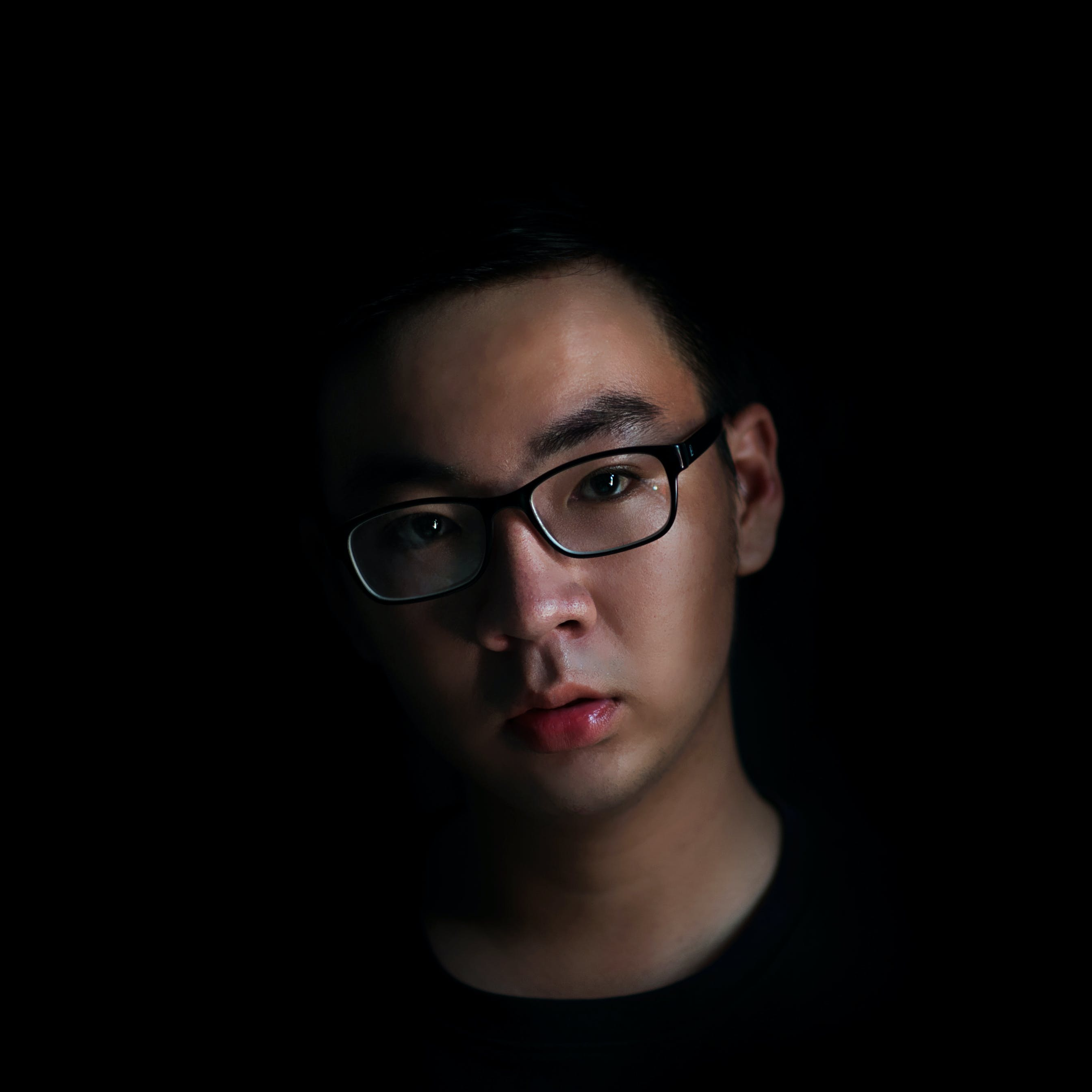 Man Wearing Black Eyeglasses