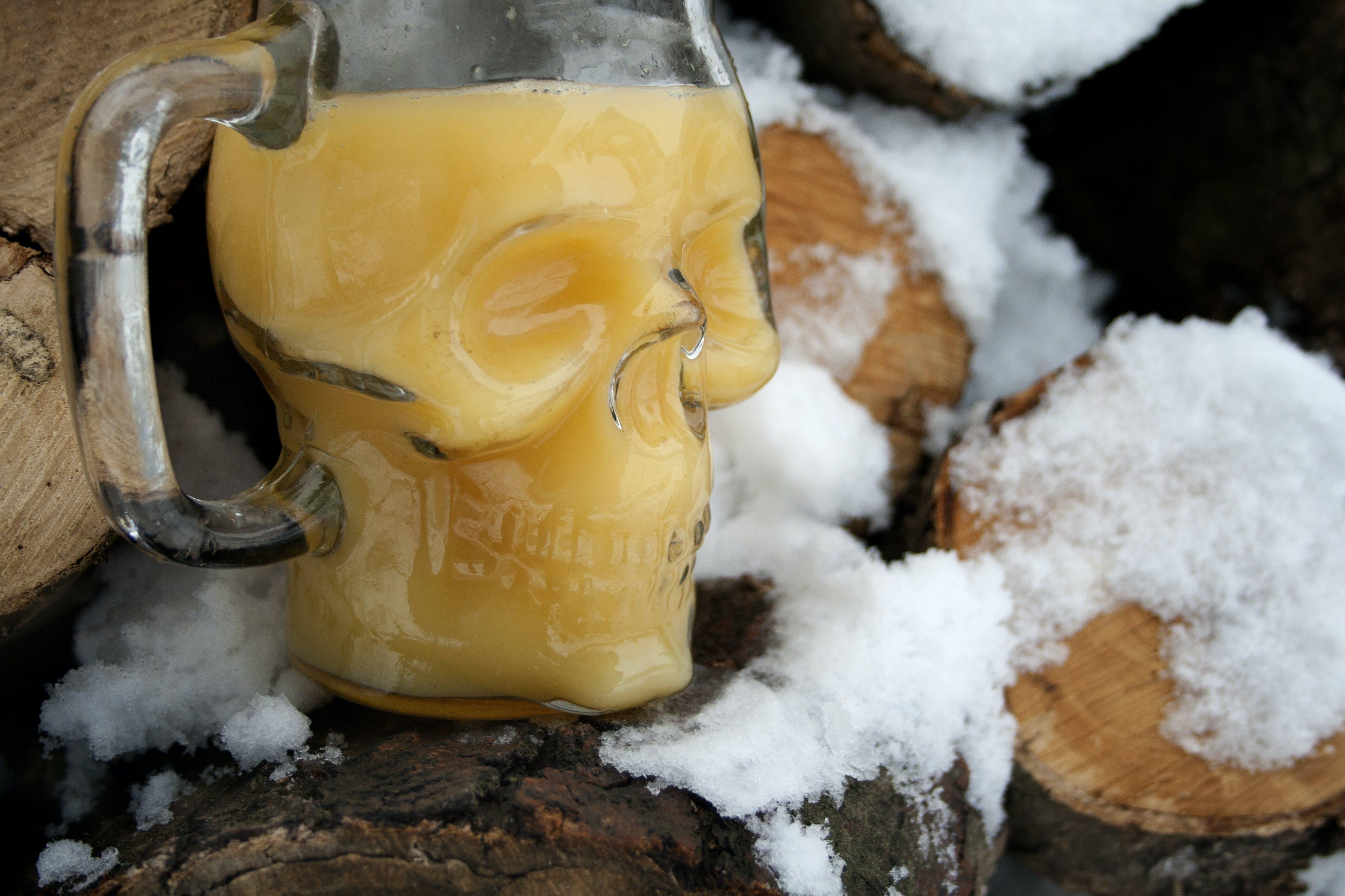 Clear Glass Skull Figure Mug